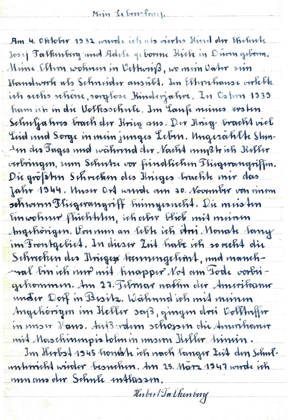 Hubert Falkenberg und sein handschriftlicher Lebenslauf